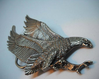 Vintage American Eagle Belt Buckle, Pewter Buckle, Great American Belt Buckle Company, Made in the USA, Bald Eagle, Bird Collector