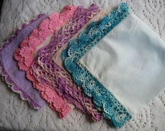 Vintage Hankie Set, 4 Lace Trimmed Linen Handkerchiefs, Crochet Lace Hankies, Fancy Wedding Hankies