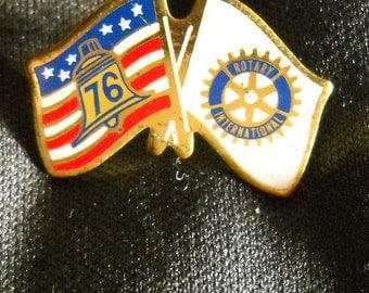 Vintage Rotary International Lapel Pin, American and Rotary Flag, 1976 Flag Pin, American Rotary Stick Pin