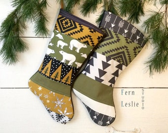 Quilted Christmas Stocking Set of 2, Polar Bear, Aztec, Rustic, Tribal, Personalized, Modern, Holiday Decor, Family, Yellow, Green,