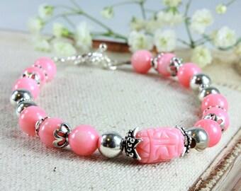 Salmon Pink Coral Bracelet, 925 Sterling Silver, Genuine pink Coral Jewelry, boho bracelet, pink gemstone bracelet, stackable bracelet, 4153