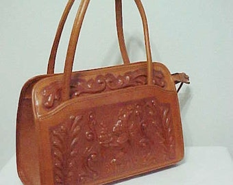 Hand Tooled Leather Handbag Purse/Exquisite Details/Southwestern Handbag/ Western Handbag/