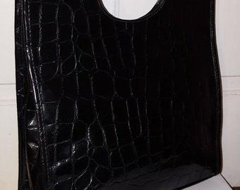 MOC CROC TOTE // Black Oversized Large Shoulder Bag Purse 80's Faux Leather Embossed 90's Simple Minimalist