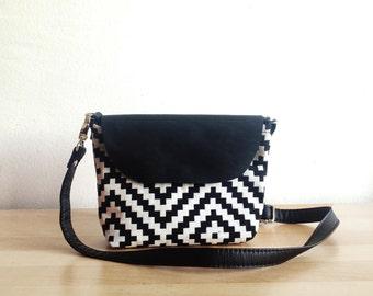 Small crossbody bag, Kilim print, Geometric pattern, Camera bag, Day bag, Small purse, Crossbody purse, Small bag, Monochrome