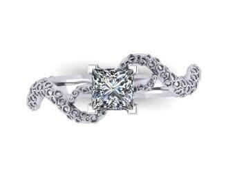 14k White Gold Octopus Princess Cut Diamond Engagement Ring