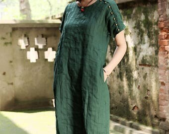 linen tunic dress in teal green, Pleated Pintuck Dress, green dress, Long Linen Dress, shirt dress, linen kaftan dress, kaftan dress, plus