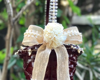 rustic woodland flower girl basket in ivory with satin bows destination wedding basket