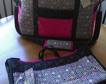 Ultimate Travel Bag, Overnight Bag, Diaper Bag, Handmade, Geometric Pattern, Pockets Galore, Laptop Organizer Included