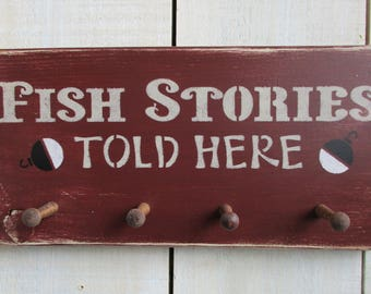 Handmade Key Holder - Fish Stories, Key Rack, Rustic Sign, Fishing Sign, Cabin Decor, Camp Sign