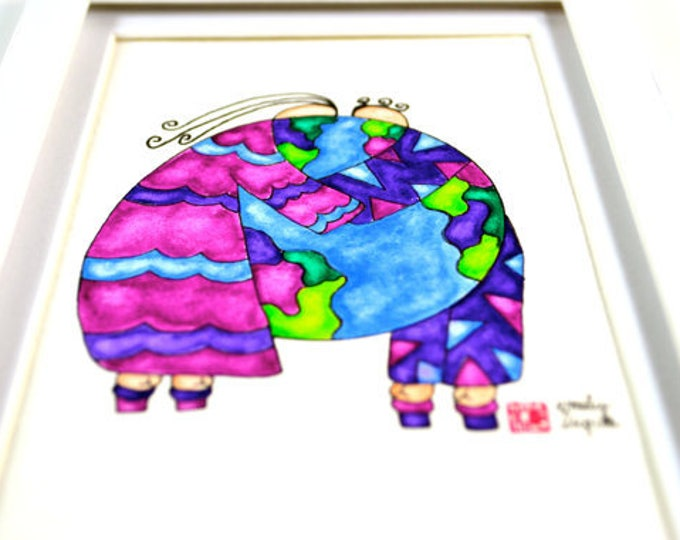 Featured listing image: Painting / Art Print / Peace on Earth / Baby Shower Gift Nursery Art / Wedding Bridal Couple / Unique Gift / Parents Children