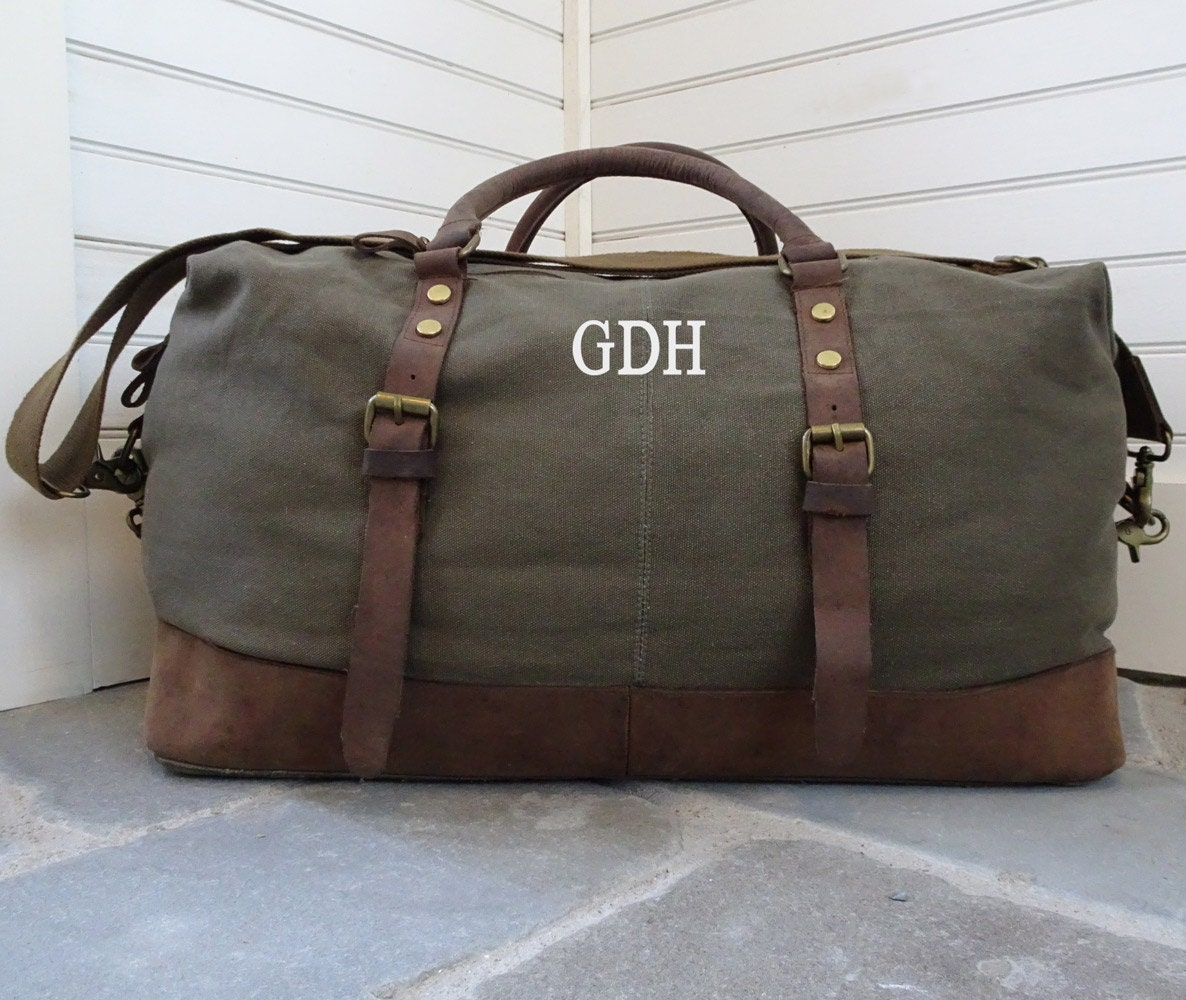 Canvas And Leather Weekender Duffel Bag For Men With Monogram