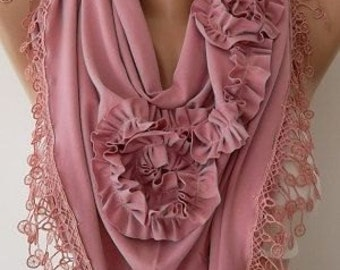 Christmas Gift Holiday Scarf Lace Scarf Pink Rose Cotton Scarf Fashion Winter Women Fashion Accessories Christmas Gift For Her Cyber Monday