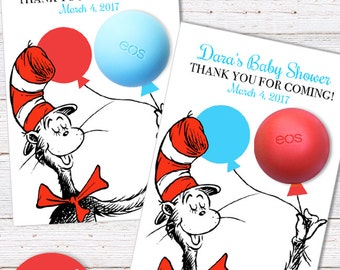 Dr Seuss Baby Shower Favors EOS lip balm - Favor Card Template - Cat in the hat Favors - PRINTABLE