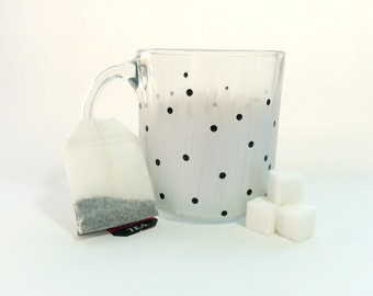 Hand Painted Glass Mug - Silvery Chic - Matte Silver Background with Shiny Black Dots on a Clear Glass Mug