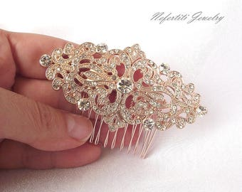 rose gold wedding hair comb rose gold bridal hair comb rose gold bridal hair piece vintage crystal wedding hair piece rose gold hair comb