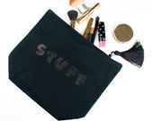 Back to School Pencil Case Canvas Make Up Bag Black Zipper Pouch Large STUFF Cosmetics Case with Tassel