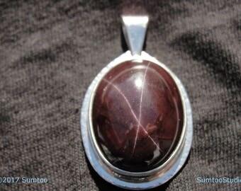 Brazillian Star Garnet in Argentium Sterling Silver Pendant