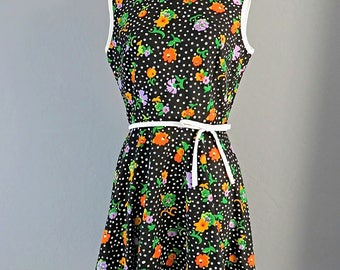 1960s Kay Windsor Polka Dot/Floral Dress Full Skirt w/Bow/Woman's Vintage/Med/Preppy/Retro/Fun Spring/Summer Fashion