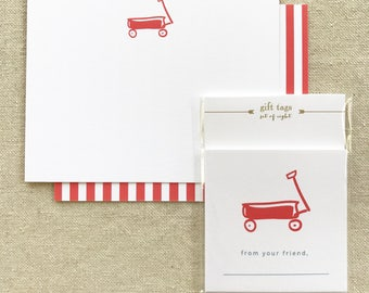 red wagon note card + enclosure card, 8 of each