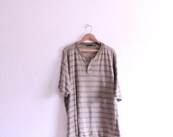 Soft Striped 90s Button T Shirt