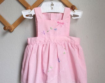 Vintage Baby Dress - 1970s 70s does 50s Pink Novelty Pinafore Spring Summer Retro Embroidered Detail Dress - 3 6 9 Months