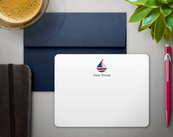 Personalized Stationary | Kids Stationery Personalized Gift | Thank You Notes | SUMMER SAILING | Boys Sailboat Stationary | Nautical Cards