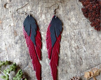 Recycled Leather Feather Earrings In Burgundy and Black
