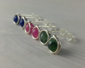 3 Pairs of Gemstone Studs - Wire Wrapped Earring - Silver Post Earrings - Sodalite Jade Ruby in Zoisite - Fashion Jewellery - Gift for Her