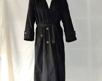 Sz 6 8 Towne London Fog Trench Coat - Black Midi Raincoat - Double Breasted - Union Made in USA