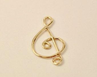 14k clef pendant, 14k treble clef pendant, 14k gold clef pendant, 14k clef charm, 14k treble clef charm, 14k gold treble clef pendant