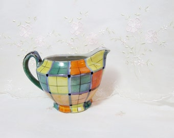 Vintage 1940s Creamer, Gold Castle Hand Painted Lusterware, Pattern All Over Plaid, Lusterware