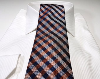 Silk Tie with Gingham Checks in Persimmon Orange and Midnight Navy Blue and Silver