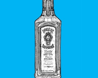Bombay Sapphire Gin // A4 Archival Giclee Print // by Amy Rose
