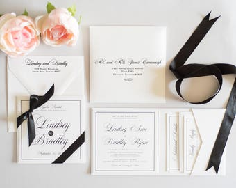 Wedding Invitation Black And White Calligraphy Pocketfold Pocket Fold Simple Script