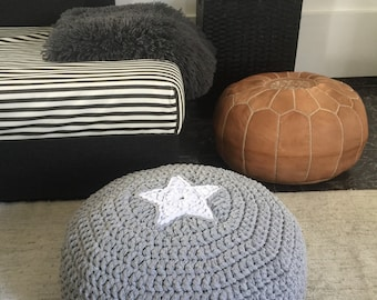 Grey Round Pouf-Star Floor Cushion Pillow-Crochet Pouf Ottoman-Round Meditation Cushion-Teepee Cushion-Nursery Decor-Kids Floor Cush