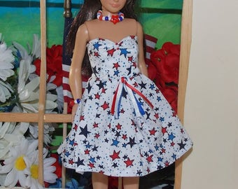 """Lammily Clothes """"Sweet Freedom"""" Independance Day, Star Spangled Dress with Optional  Necklace  andBracelet.  Does not fit dolls like Barbie."""
