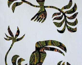 Birds of paradise silhouette in green and brown African print fabric, cut paper art - living room or nursery art