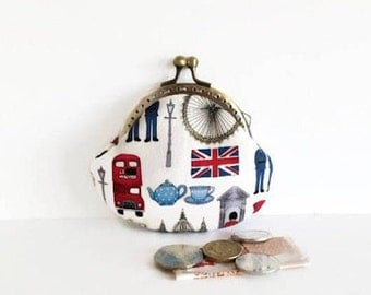 London Print Coin Purse, Kiss Lock Change Pouch, London Icons, British Gifts