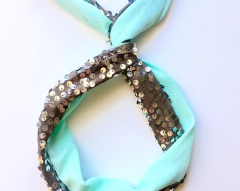 Accessories Top Knot Headband, Gifts for her headband, Top Knot Headband Silver Sequin, Womens headband, Mint Green headband