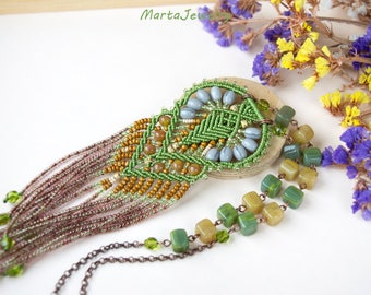Fringe macrame necklace, micro-macrame jewelry, long, beaded, bohemian, boho, rustic, free spirit, beadwork, brown green gray mustard earthy