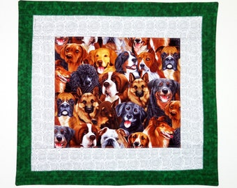 Canine Table Topper, Quilted Table Runner, Quilted Room Decor, Wall Hanging Quilted, Fiber Art Quilted , Quilted Banner, Sewnsewsister