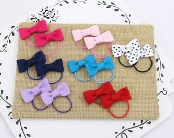 Toddler Hair Ties, 14 Small Bow Ties, Baby Bow Hair Ties, Lavender Red Pink Navy Bows, Tiny Hair Bows, Small Bow Hair Tie, Toddler Gift