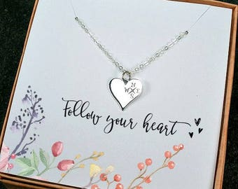Graduation Gift, Compass Necklace, High School Graduation, College, Sister Graduation, New Job, Friend Graduation Gift, Follow your Heart