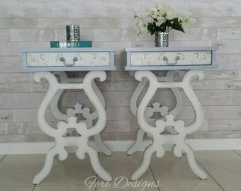 White / Blue Vintage End Tables, Side Tables, Night Stands, Coffee Tables, Lamp Tables
