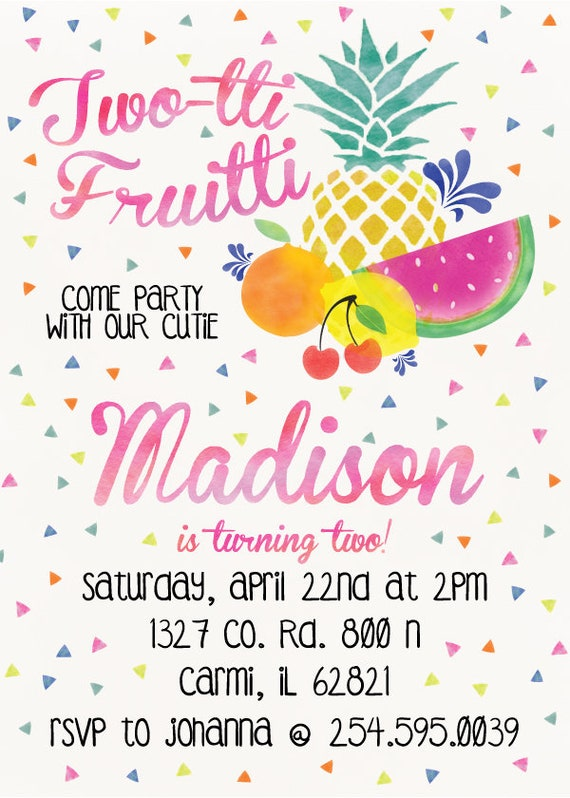 TwoTi Fruiti Come party with our cuties 2nd birthday party invitation (DIGITAL COPY)