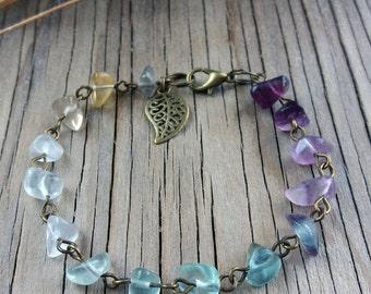 Gemstone bracelet Womens gift Stone bracelet Rainbow fluorite bracelet Women bracelets Gifts for mom Rainbow bracelet Gifts for girlfriend