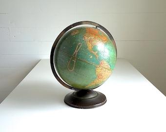 "Vintage Globe Replogle 12"" Antique Standard Globe World 12 Inch Chicago Blue Ocean"