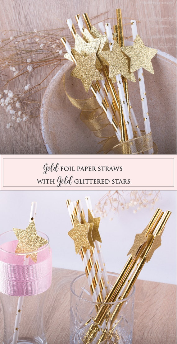 Paper Straws Twinkle Twinkle Little Star Gold Foil Straws  Birthday Party Decorations Gold Glitter Star Decoration