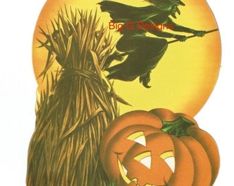 Vintage Halloween die cut full moon JOL jack o' lantern pumpkin witch digital download printable instant image