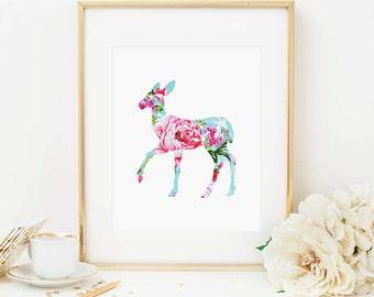 Deer Printable Floral Deer Prints Woodland Nursery Decor Woodland Wall Art Woodland Animals Shabby Nursery Wall Art Girl Nursery Pink Aqua